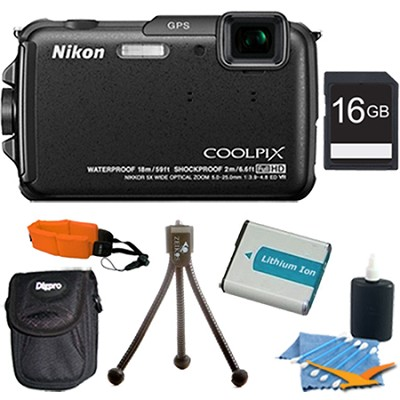 COOLPIX AW110 16MP Water/Shock/Freezeproof Black Digital Camera Plus 16GB Kit