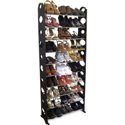 30-Pair Easy To Assemble Shoe Rack - Black - OPEN BOX