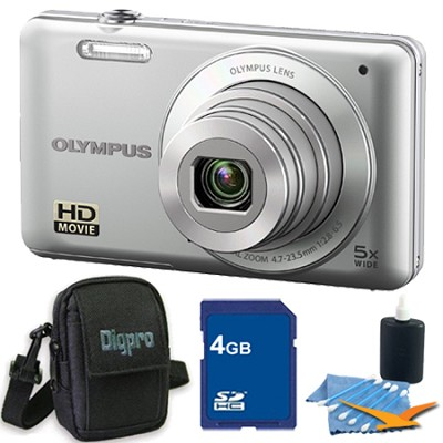 VG-120 14MP 5x Opt Zoom 3-inch LCD Digital Camera Silver 4GB Kit