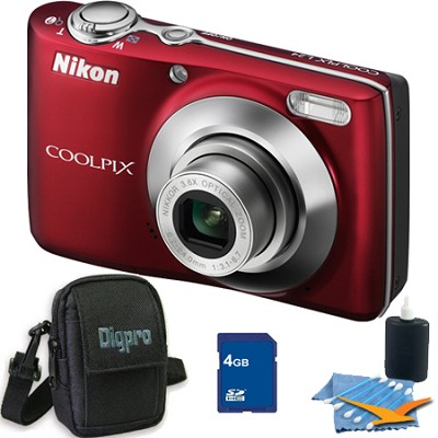 COOLPIX L24 14MP Red Digital Camera 4GB Bundle