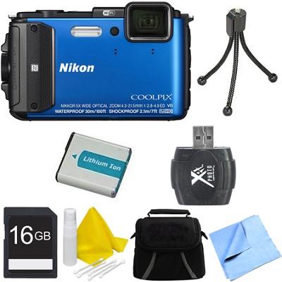 COOLPIX AW130 Waterproof Shockproof Freezeproof Digital Camera 16GB Bundle Blue