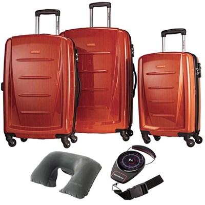 Winfield 2 Fashion Hardside 3 Pcs Spinner Set Orange with Travel Kit