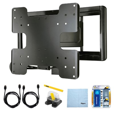 Super Slim Full Motion Wall Mount for 26`- 47` TVs w/ Accessory Bundle