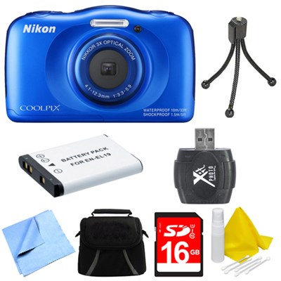 COOLPIX S33 13.2MP Waterproof Shockproof Digital Camera Blue Deluxe 16GB Bundle