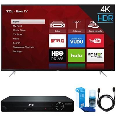 65-Inch 4K UHD Dual Band Roku Smart LED TV (Black) w/ HDMI DVD Player Bundle