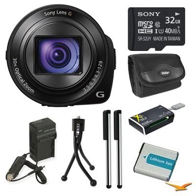 DSC-QX30/B Lens Style Camera 32GB Bundle