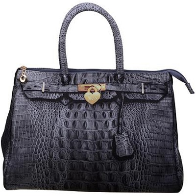 3D Designer Inspired Croc Handbag in Heather Grey