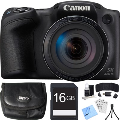 PowerShot SX420 IS 20MP Black Digital Camera + 42x Optical Zoom 16GB Card Bundle