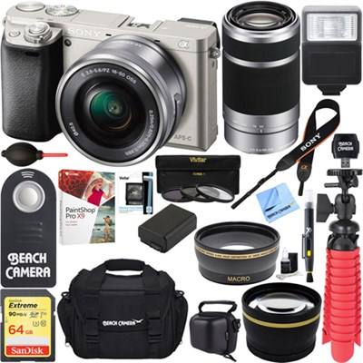 Alpha a6000 24MP Mirrorless Camera 16-50mm & 55-210mm Zoom Lens 64GB Kit Silver