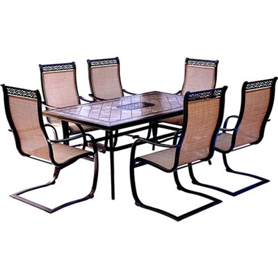 Monaco 7PC Dining Set: 6 Spring Sling Chairs and 40 X68  Porcelain Tbl