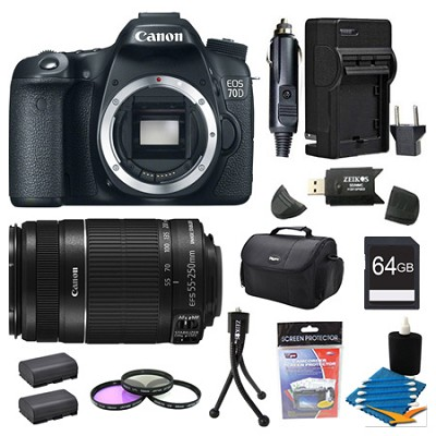 EOS 70D 20.2 MP CMOS (APS-C) Digital SLR Camera And 55-250IS Bundle