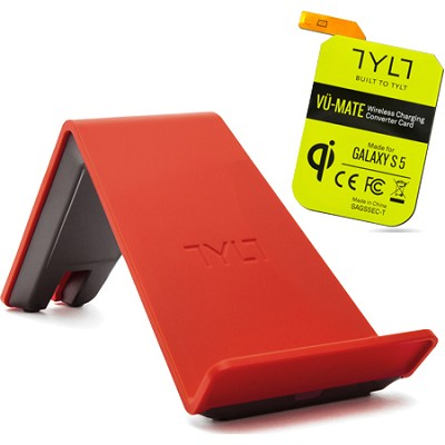 VU Wireless Charger QI Smartphone Bundle w Galaxy S5 Receiver Card - Red