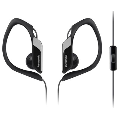 HS34 Sports Clip Earbud Headphones with Mobile Controller, Black