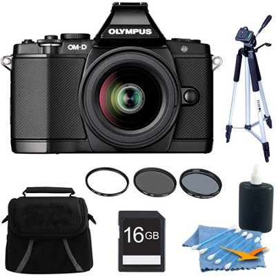 OM-D E-M5 BLK 12-50mm Black Digital SLR Camera 16GB Kit