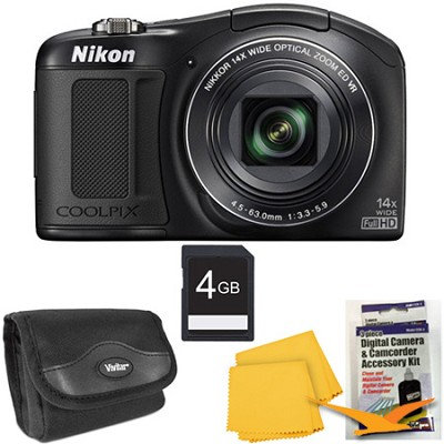 COOLPIX L620 18.1 MP CMOS 14x Zoom 1080p HD Black Digital Camera Kit