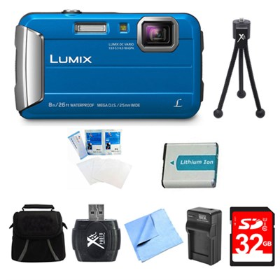 LUMIX DMC-TS30 Active Tough Blue Digital Camera 32GB Bundle