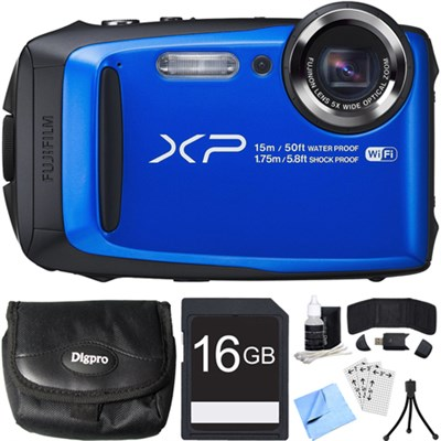 FinePix XP90 16 MP Waterproof Digital Camera Blue 16GB SDHC Card Bundle