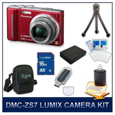 DMC-ZS7R LUMIX 12.1 MP Digital Camera (Red), 16GB SD Card, and Camera Case