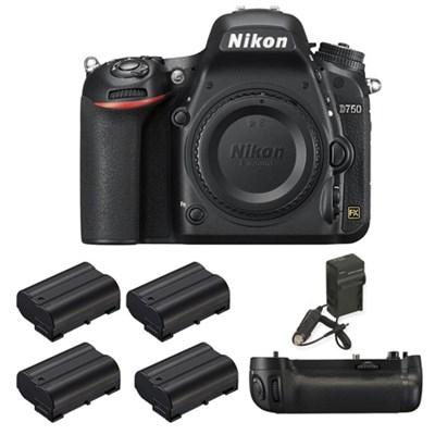 D750 DSLR HD FX-Format Digital Camera, MB-D16 Pack, 4 Batteries, and Charger