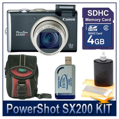 PowerShot SX200 Black value Bundle w/ 4G SD Card, Reader, Case, and More