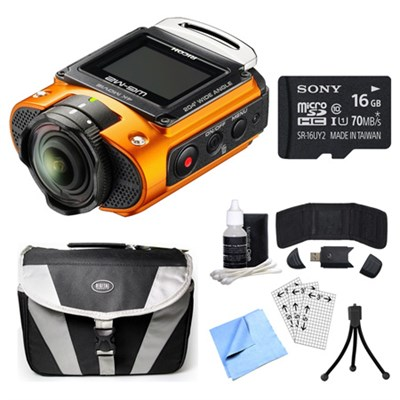 WG-M2 4K Action Orange Digital Camera, 16GB Card, and Accessory Bundle