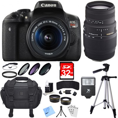 EOS Rebel T6i Digital SLR Camera with 18-55mm and 70-300mm Lens Bundle