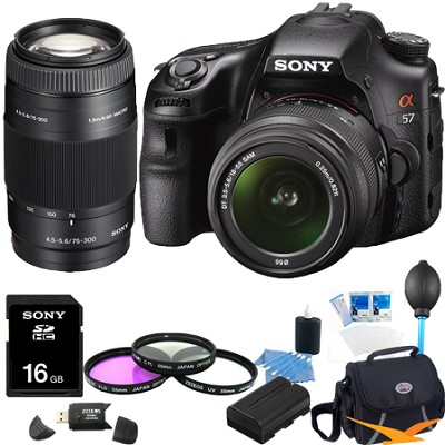 Alpha SLT-A57K 16.1 MP Digital SLR Kit w/ 18-55mm , 75-300 Ultimate Bundle