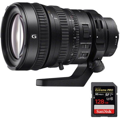 28-135mm FE PZ F4 G OSS E-mount Power Zoom Lens with 128GB Memory Card