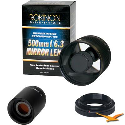 500mm F6.3 Mirror Lens for Olympus/Panasonic with 2x Multiplier (Black) ED500M-B