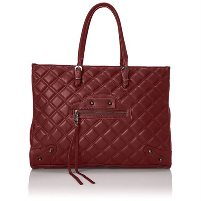 BZINNIA Quilted Large Tote Bag - Wine