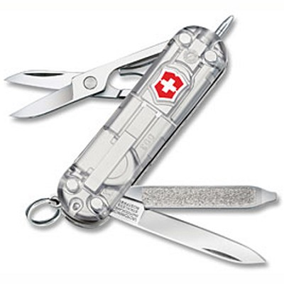 54752 - Silver Tech Signature Pocket Knife with Mini LED Light