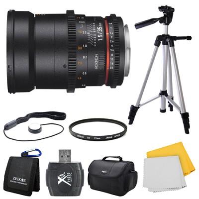 DS 35mm T1.5 Full Frame Wide Angle Cine Lens for Nikon Mount Bundle