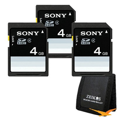 4 GB SDHC Memory Card (Class 4) 3 pack