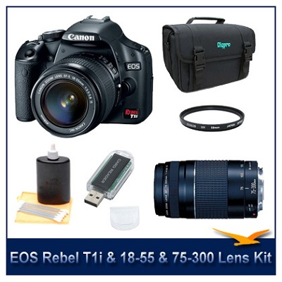 EOS Digital Rebel T1i Black w/ 18-55 & 75-300 III Lenses