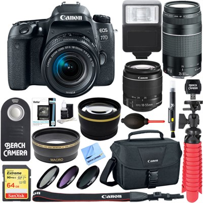 EOS 77D 24.2 MP DSLR Camera with EF-S 18-55mm IS STM Dual Lens X2 Kit