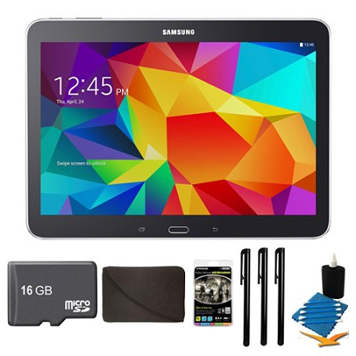 Galaxy Tab 4 Black 16GB 10.1` Tablet, 16GB Card, and Case Bundle