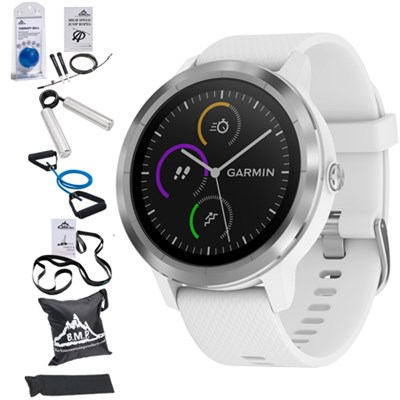 Vivoactive 3 GPS Fitness Smartwatch (White) with 7 Pcs Workout Bundle