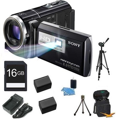 HDR-PJ260V 16GB 8.9 MP Stills 30x Optical HD Projector and Camcorder Bundle