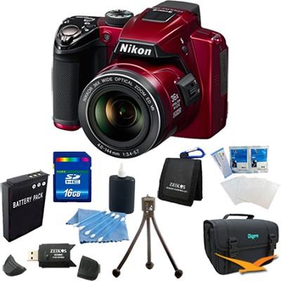Coolpix P500 12MP Red Digital Camera 16GB Bundle