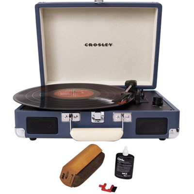 Cruiser Portable 3-Speed Turntable with Bluetooth Blue w/ Record Cleaner