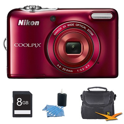 COOLPIX L30 20.1MP 5x Opt Zoom HD 720p Video Digital Camera Red Kit