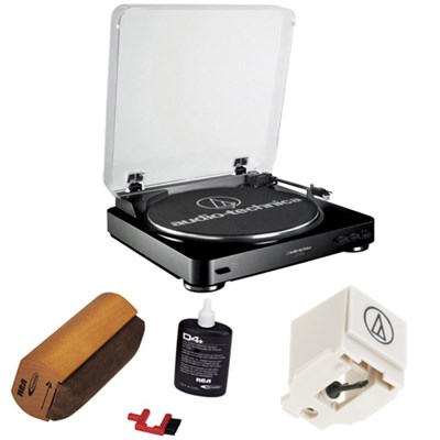 Fully Automatic Stereo Turntable System- Black w/ Record Cleaning Kit