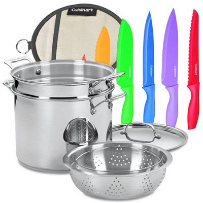 Chef's Classic Stainless Steel 4-Piece 12 Qt Pasta/Steamer Set with Knives