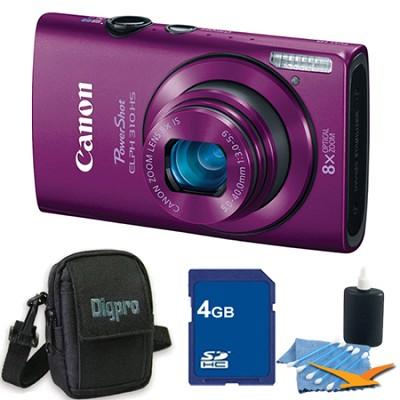 PowerShot ELPH 310 HS 12MP Purple Digital Camera 4GB Bundle