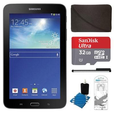 Galaxy Tab 3 Lite 7.0` Black 8GB Tablet, 32GB Card, Headphones, and Case Bundle