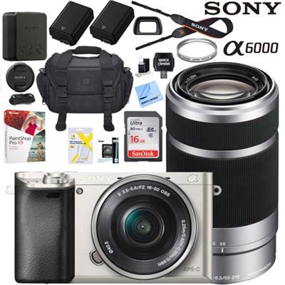 Alpha a6000 Mirrorless Digital Camera 16-50mm & 55-210mm Lens Pro Bundle Silver