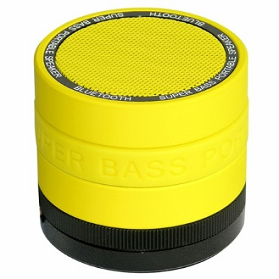 Portable Bluetooth Speaker with 8 Customizable Color Bands - Yellow Speaker