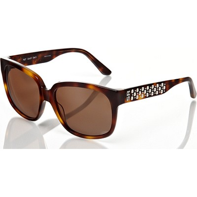 Tortoise-Brown Sunglasses with Silver-Studded Detail