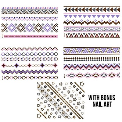 Colored Accessory JewelryTatt (pink/silver/gold/purple) with Bonus Nail Art