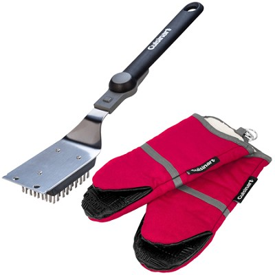 Folding Grill Brush (16-Inch) and 2 Pack Oven Mitt w/ Silicone Grip (Red) Bundle